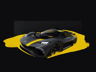Mercedes ProjectOne AMG concept art mercedes car yellow blue sketch f1 electric digital illustration digital art digital illustration