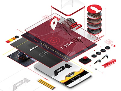 More Isometric-ish layering red app automotive layout casestudy
