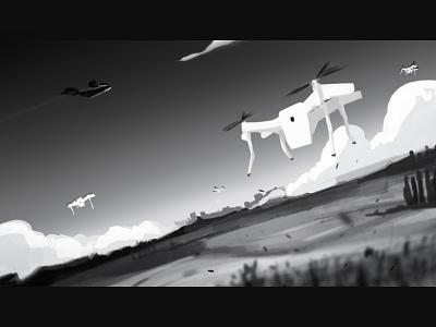Drones wacom madewithwacom photoshop values tonal black and white drones digital illustration digital illustration