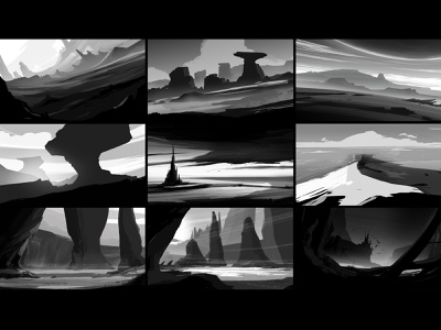 Value thumbnails. storyboards values tones white black sky dutch tilt weather dynamic tilt brushes composition photoshop illustration art storyboard digitial drawing landscape illustration illustrator