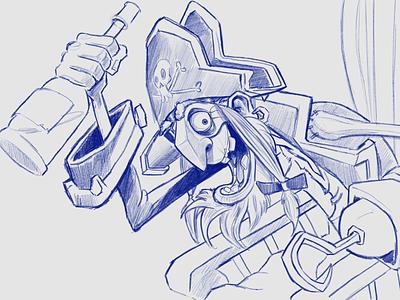Pirate Grandpa process blue linework sketchbook wacom pirate illustration art illustrator freehand sketch illustration