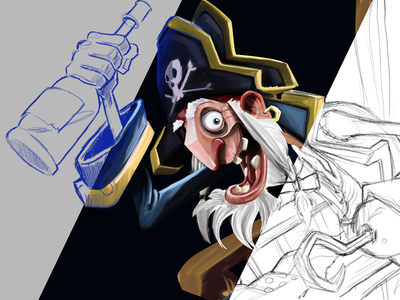 Pirate Progress illustration art sketching animation blue progress process fanart photoshop art photoshop illustrator pirates pirate sketchbook poster art sketch illustration