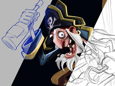 Pirate Progress illustration art sketching animation blue progress process fanart photoshop art photoshop illustrator pirates pirate sketchbook poster art sketch illustration