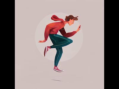 Dancing Dude poster style characterdesign dancing illustrative skillshare character texture procreate illustration