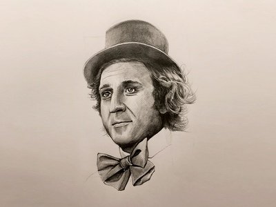 WillyWonka wacokid gene tophat bowtie workings thumbnail pencils illustration sketch
