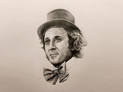 WillyWonka wacokid gene tophat bowtie workings thumbnail pencils illustration sketch