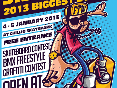 Skate Day Urban Flyer hiphop flyer a4 flyer bmx freestyle cartoon flyer colorful flyer hipster music flyer skateboard urban event urban flyer