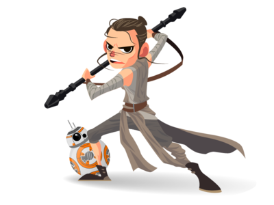 Rey and BB-8 mascot design rey illustration illustration robot droid jakku daisy ridley rey the force awakens bb-8 starwars star wars