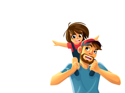 Dad's so Cool Illustrative Logo  character design character logo character cartoon logo mascot logo children kid cartoon illustration mascot mascot design