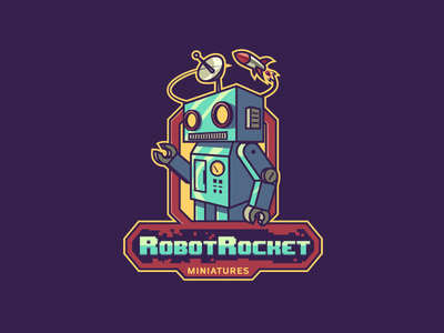 RobotRocket Miniatures Logo Design robot illustration illustration retro logo rocket mascot design character design mascot robot