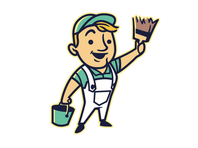 Retro Painter Mascot suhandi 1950s logo 1940s logo vintage mascot vintage logo retro logo retro design character mascot retro worker retro. painter