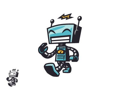 Happy Vintage Toy Robot Logo classic robot robot mascot geek mascot retro robot robot toy toys toy vintage retro