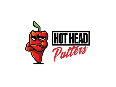 Hot Head Putters Logo veggie food logo food restaurant chilli logo chilli