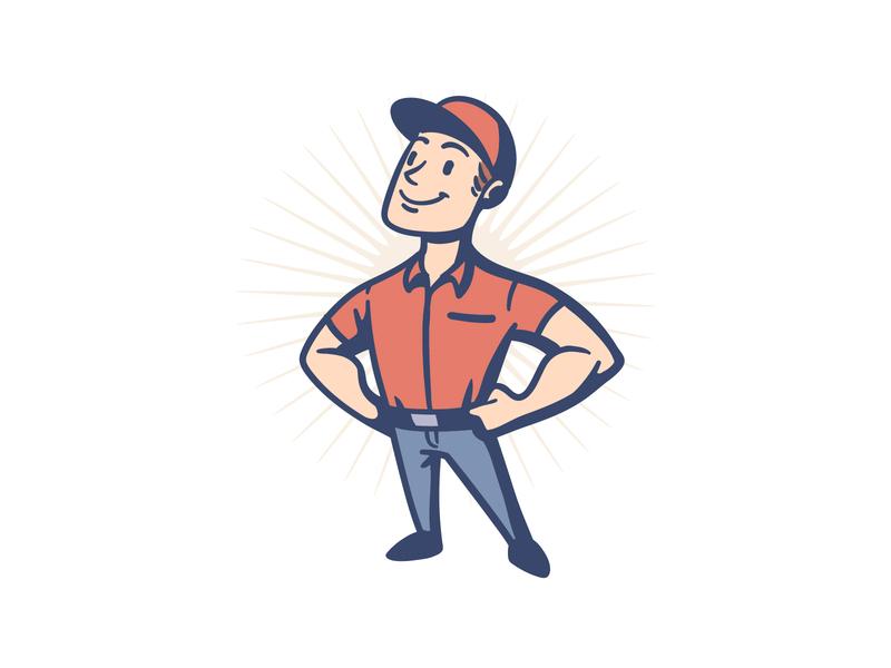 Retro Handyman Mascot Logo handyman repairman vintage logo vintage design character retro cartoon mascot design logo design character design logo illustration mascot