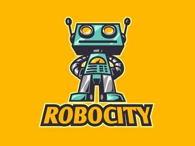 Robocity mechanical mecha robotic cartoon andymonstart logo design mascot design character design illustration mascot logo vintage mech robot retro