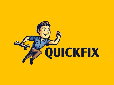 QuickFix fast running run fix handyman mechanic repairman retro logo retro character cartoon logo design mascot design character design illustration logo mascot