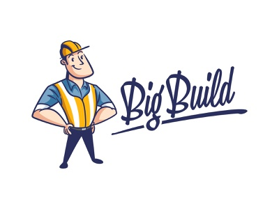 Big Build construction logo construction builder contractor retro logo retro cartoon character mascot design logo design character design illustration mascot logo