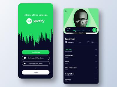 Music player uxui ui minimal stream skeuomorphic sound album spotify green music player player ux music app app music beautiful illustration concept mobile app design