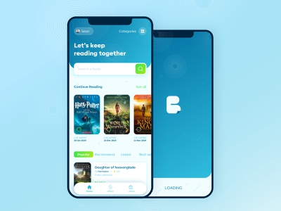 Book Reading App - ebooks Library simple cards ui search bar blue reading book library virtual mobile app beautiful ux ui mobile app clean design