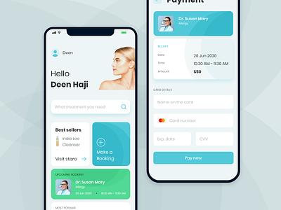 Skin Care Clinic App 🧑🏼 healthcare grid health app mobile beautiful ux ui mobile app clean design turquoise
