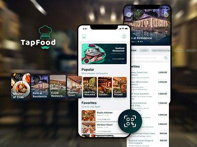 Restaurant Food Menu App safety health scan qr tap menu app restaurant app order menu app mobile app beautiful ux ui clean design