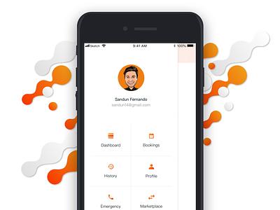 Menu app taxi menu card menu icon travel typography menu design flat profile simple ios beautiful ux ui mobile concept mobile app design clean menu