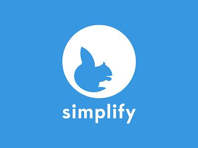 Simplify Logo simplify simplify my life blue squirrel app flat