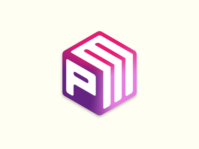 Postmodem 2020 purple pink cube isometric logo