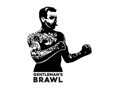 Gentleman's Brawl Logo logo gentlemans queensbury rules moustache tattoos brawl boxer music band leeds