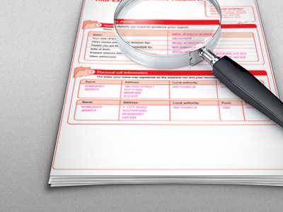 Intro Screen idea credit report red grey magnifying glass paper