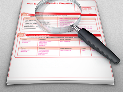 Intro Screen - Reflections Sorted credit report red grey magnifying glass paper