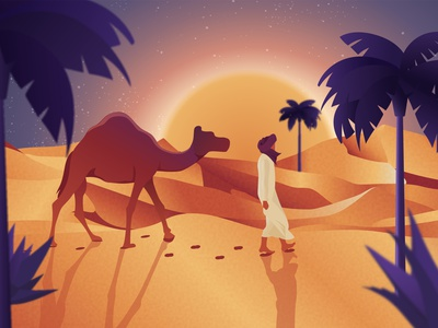 Desert digital illustration desert flat design vector illustration
