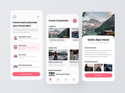 Private customized travel app flat branding icon app ux design ui colorful 视觉艺术 typography
