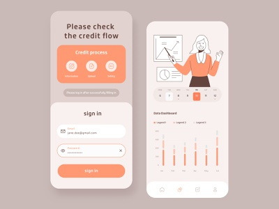 Credit process app minimal illustration branding app ux design ui colorful 视觉艺术 typography