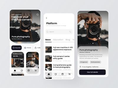 Photography blog app minimal icon logo app ux design ui colorful 视觉艺术 typography