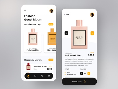 Gucci Perfume Product App minimal dribbble invitation icon app ux ui design colorful 视觉艺术 typography