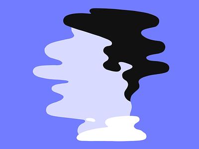 Self distortion animation illustration head