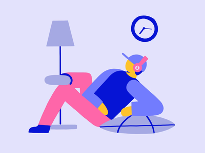 Listen to music night day clock lamp character beat by dre fun creativity concept lobsterstudio lobstertv illustration tvpaint frame by frame cell animation cell animation