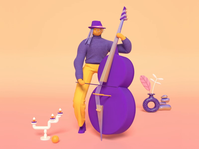 Double bass player creative lobstertv lobsterstudio cinema4d gif 3d illustration design candle candlestick plant hat character music player instrument music doublebass bass