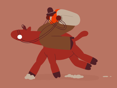Riding on a horse trot run gallup riding cowboy creativestudio lobstertv lobsterstudio tvpaint cell frame by frame flat illustration animation horse