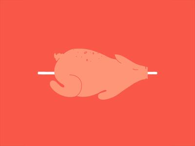 BBQ lobsterstudio illustration animation hand drawn frame by frame morph delicious tasty food pork vegetables tomatoe beer pig barbeque bbq
