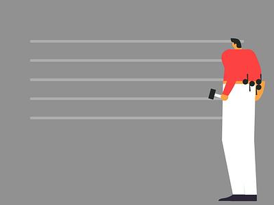 Natural music lobsterstudio vector flatdesign illustration animation artist man composer bird nature birds song notes music