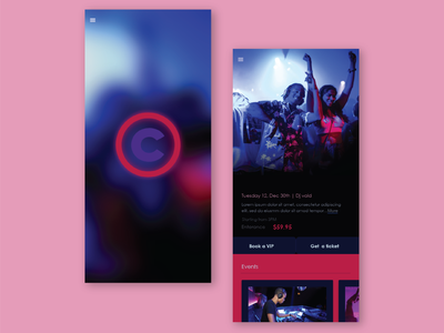 Night Clubs and Evening events app sample mobile ui mobile app uiux ui ux