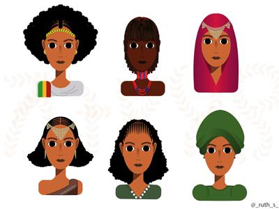 Ethiopian Faces illustration ethiopia