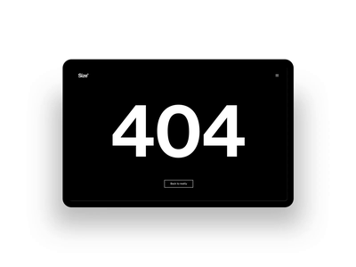 Studio Size - 404 Page website ui animation motion graphics clean typography 404 page 404