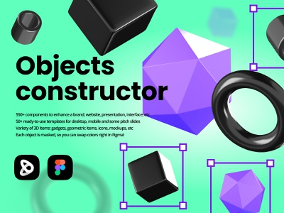 Abstract objects scene constructor hero figma color swap interface icons item interface presentation webdesign website branding components ui kit template image landing constructor scene 3d illustration hex