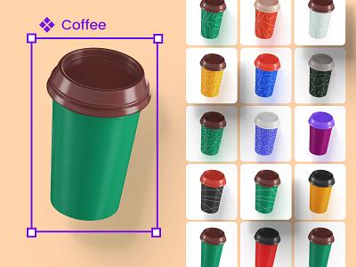 Variations of objects in levitation kit marketing design template service desktop 3d mockup 3d design block landing illustration mobile
