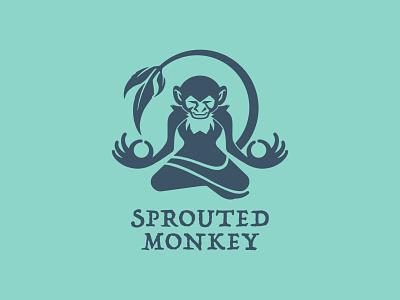 Sprouted Monkey Logo Design illustration flat typography design graphic design branding logo