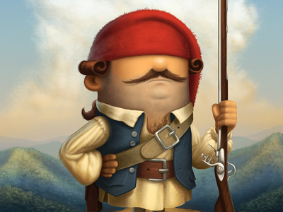 French Soldier illustration musket hat mountains