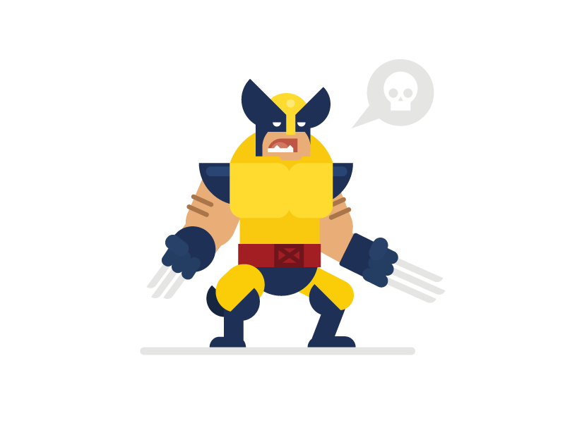 Wolverine character design logan superhero marvel illustration flat